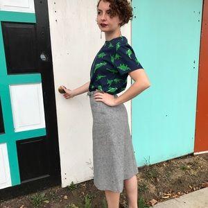 Vintage Grey Wool Pencil Skirt